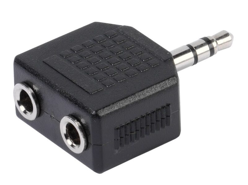 To adapt two 3.5 mm plugs to a 3.5 mm socket e.g. for headphones