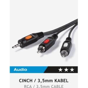 RCA Connection, 1,5m , Vivanco 46030 -2 x RCA plug 3.5 mm socket